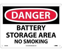 Danger Battery Storage Area No Smoking 10X14 Rigid Plastic