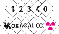 "6"" Numbers And Symbols 3-0 3-1 3-2 3-3 3-4 Alk Acid Cor Ox Radiation Symbol  No Water Symbols Package 21 P/S Vinyl,"