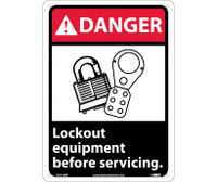 Danger Lock Out Equipment Before Servicing (W/Graphic) 14X10 Rigid Plastic