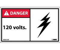 Danger 120 Volts 3X5 Ps Vinyl 5/Pk