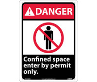 Danger Confined Space Enter By Permit Only 14X10 Rigid Plastic
