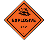 D0T Shipping Label Explosive 1.3C 1 4X4 Ps Vinyl 500/Roll