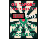 On Target For Safety Without A Lost Time Accident 20 X 28 .085 Styrene