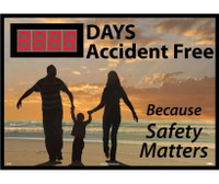 Digital Scoreboard Xxx Days Accident Free  Because Safety Matters 28X20 .085 Styrene
