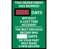 Digital Scoreboard This Department Has Worked Xxx Days Without A Loss Time Accident The Best Previous Record Was (Magnetic 6 X 2.5) Days Do Your Part Help Make A New Record 28X20 .085 Styrene