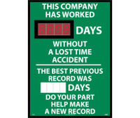 Digital Scoreboard This Company Has Worked Xxx Days Without A Loss Time Accident The Best Previous Record Was (Magnetic 6 X 2.5) Days Do Your Part Help Make A New Record 28X20 .085 Styrene