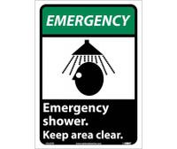 Emergency Emergency Shower Keep Area Clear (W/Graphic) 10X7 Rigid Plastic