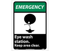 Emergency Eye Wash Station Keep Area Clear (W/Graphic) 14X10 Ps Vinyl