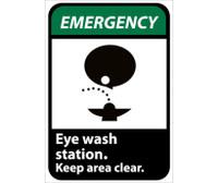 Emergency Eye Wash Station Keep Area Clear (W/Graphic) 14X10 Rigid Plastic