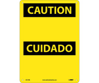 Caution (Header Only) (Bilingual) 14X10 Rigid Plastic