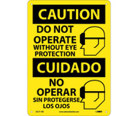 Caution Do Not Operate Without Eye Protection (Graphic) Bilingual 14X10 Rigid Plastic
