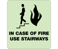 In Case Of Fire Use Stairways 9X8 Glow Ada