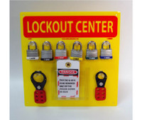 Lockout Center Yellow Backboard With Hooks And Supplies 14X14