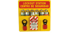 Lockout Center Bilingual Red/Yellow Backboard With Hooks And Supplies 14X14