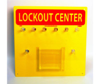 Lockout Center Yellow Backboard With Hooks 14X14