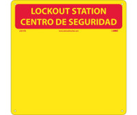 Lockout Center Bilingual Red/Yellow Backboard With Hooks 14X14