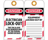 Tags Lockout Danger Electrician Lock-Out. . . 6X3 Unrip Vinyl    Grommet Packof 10