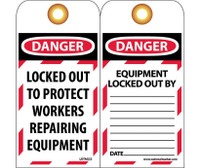 Tags Lockout Danger Locked Out To Protect Workers. . . 6X3 Unrip Vinyl   Grommet Pack Of 10