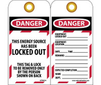 Tags Lockout Danger This Energy Source Has Been Locked Out. . . 6X3 Unrip Vinyl    Grommet Pack Of 10