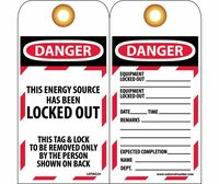 Tags Lockout This Energy Source Has Been Locked Out 6X3 Unrip Vinyl 25/Pk       Grommet