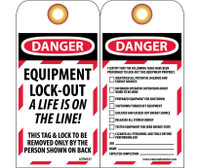Tags Lockout Danger Equipment Lock-Out. . . 6X3 Unrip Vinyl   Grommet Pack Of 10
