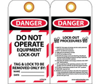 Tags Lockout Danger Do Not Operate. . . 6X3 Unrip Vinyl Grommet Pack Of 10
