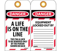 Tags A Life Is On The Line 6 X 3/4 Unrippable Vinyl  Grommet Packs Of Ten