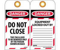 Tags Lockout Danger Do Not Close 6X3 Unrip Vinyl  Grommets 10 Pk