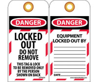 Tags Lockout Danger Locked Out Do Not Remove 6X3 Unrip Vinyl Grommet 10 Pk