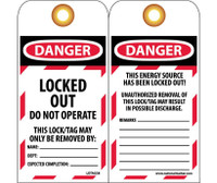 Tag Danger Locked Out,Do Not Operate 6X3 Unrip Vinyl 25/Pk     Grommet