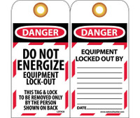 Tags Lockout Do Not Energize Equipment Lock Out 6X3 Unrip Vinyl 25/Pk  Grommet