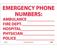 Emergency Phone Numbers Ambulance,Fire.. 10X14 Ps Vinyl