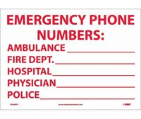 Emergency Phone Numbers Ambulance,Fire.. 10X14 Ps Vinyl