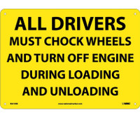 All Drivers Must Chock Wheels And Turn Off.. 10X14 Rigid Plastic