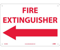 Fire Extinguisher (With Left Arrow) 10X14 Rigid Plastic