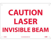 Caution Laser Invisible Beam 10X14 Rigid Plastic