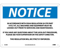 Notice In Accordance With Osha Regulations 29.. 10X14 Rigid Plastic