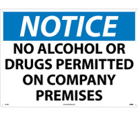 Notice No Alcohol Or Drugs Permitted On Company Premises 20X28 Rigid Plastic