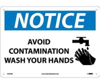 Notice Avoid Contamination Wash Your Hands Graphic 10X14 Rigid Plastic