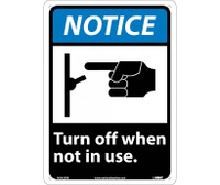 Notice (Graphic) Turn Off When Not In Use 14X10 Rigid Plastic