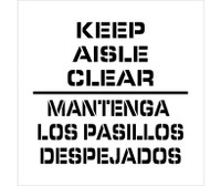 Stencil Keep Aisle Clear Bilingual 24X24 .060 Plastic
