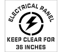 Stencil Electrical Panel Keep Clear For 36 Inches Graphic 24X24 .060 Plastic