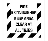 Stencil Fire Extinguisher Keep Area Clear At All Times 24X24 .060 Polyethylene