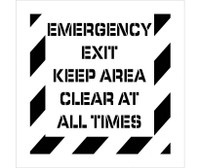 Stencil Emergency Exit Keep Area Clear At All Times 24X24 .060 Polyethylene