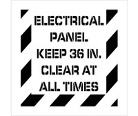 Stencil Electrical Panel Keep 36 In. Clear At All Times 24X24 .060 Polyethylene