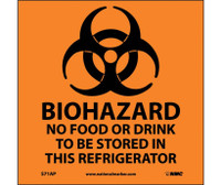 Biohazard No Food Or Drink . . .(Graphic) 4X4 Ps Vinyl 5/Pk