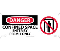 Danger Confined Space Enter By Permit Only (W/Graphic) 7X17 Rigid Plastic