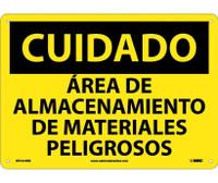 Cuidado Area De Almacenamiento De Materiales Pelgrosos 10X14 Rigid Plastic