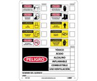 Labels Chemical Id (Spanish) 14X10 Rigid Plastic