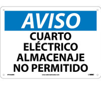 Aviso Cuarto Electrico Almacenaje No Permitido 10X14 Rigid Plastic